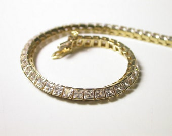 14K Yellow Gold Cubic Zirconia Tennis Bracelet - Weight 10.8 Grams - Reduced