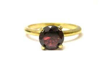 Rhodolite Almandine Garnet stone in Gold Plated Sterling Silver Ring Size 5.75