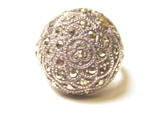 Sterling Silver and Marcasite Ring - Large Dome Ring - Size 8.5 - Weight 9 Grams - Reduced # 384