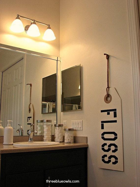 Floss sign bathroom sign bathroom decor bathroom rules by for Bathroom decor etsy