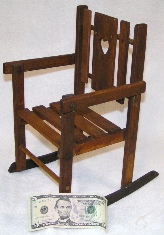 FOLDING DOLL ROCKER Rocking Chair Wood by PigsPokeCollectibles