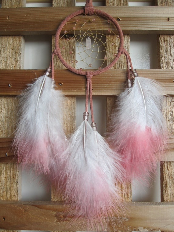 Pink Suede Dream Catcher with Pink & White Marabou Feathers