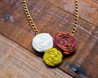 Fabric rosette necklace - cluster of 3 blooms in fall colors