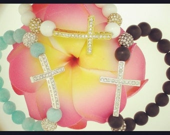 SALE---Sideway Cross Beaded Bracelet