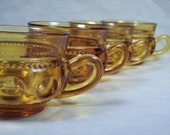Indiana Glass Amber Cups King Crown Thumbprint Punch Glasses