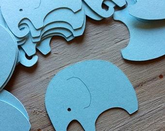 28 blue elephant baby shower stickers