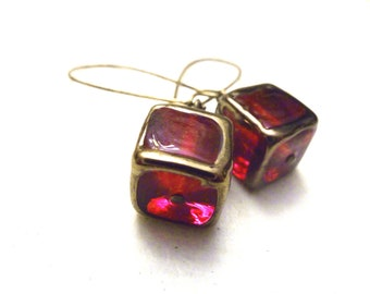 Ruby Red Cube Glass Lamp Earrings