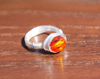 The Hunger Games Inspired Girl on Fire  - Simple Silver Wire Wrapped Ring