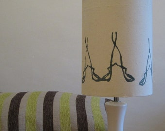 Small Lampshade With Hand Screen Printed Grey Blue Design On Cream Calico Fabric  - Suts UK and Euroean Light Fittings