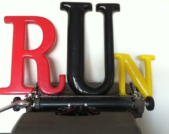 Large Plastic Letters Spell --RUN-- Industrial Decor