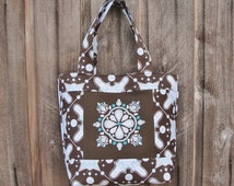 Impressions Machine Embroidered All Season Handbag Tote 6 Pockets Ty Pennington Home Dec Impressions Fabric Snowflake