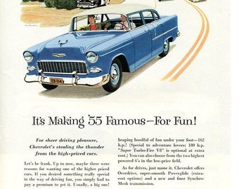 1955 Chevrolet Bel Air Car Ad  Vintage Chevy Auto 1950s, Turbo Fire V-8, Interstate, Blue Chevy