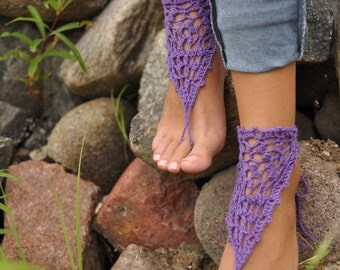 Purple Crochet Barefoot Sandals, Nude shoes, Foot jewelry, Destination Wedding, Yoga, Anklet , Bellydance, Barefoot bride, Bridesmaid gift