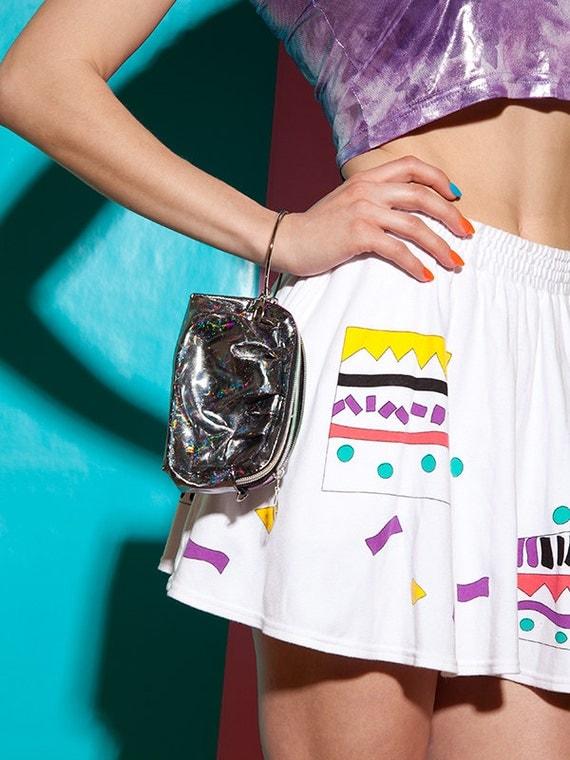 90s silver hologram purse / bangle clutch / rainbow zippers