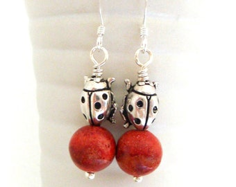 Red Coral Earrings - Natural Madrepora Rossa Beads - Dangle Earrings with silver Ladybug charms - Gemstones Earrings