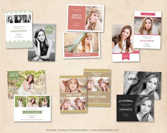 Graduation announcement template bundle photoshop senior for Free senior templates for photoshop