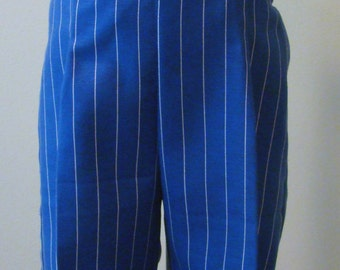 Boys Pant with Suspender Straps in Royal Blue with White Stripes - sizes  2T, 3T, 4T