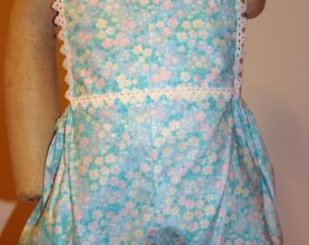 Girls Aqua Floral Lace Sunsuit - Size 6 months