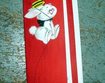 Vintage Cards, Get Well,  Rabbit, Red, Hallmark, Unused