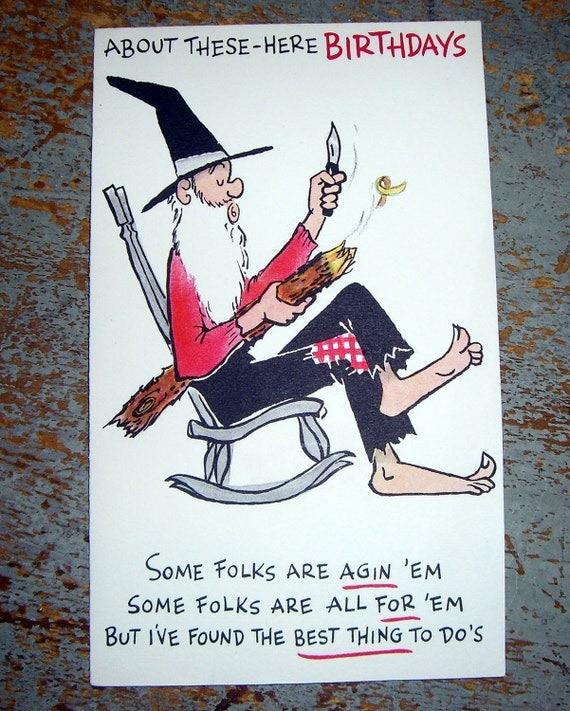 Vintage karten geburtstagskarte alter mann schnitzen for Alter mann im schaukelstuhl
