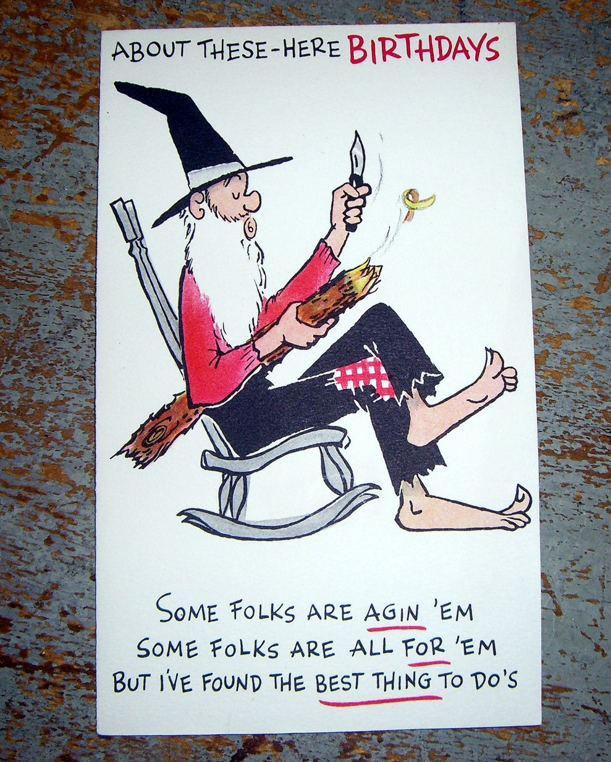 vintage cards birthday card old man whittling hallmark, Birthday card