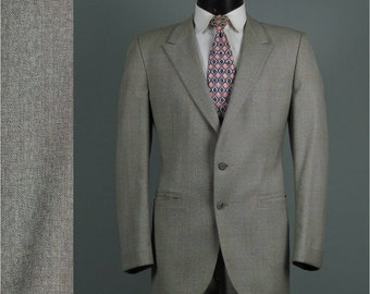 Vintage Mens Suit 1970s Pink and Grey OMBRE PLAID Self Belt Two Piece Mens Vintage Suit 46 Chest