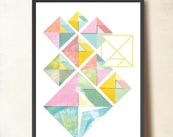 Geometric Art Print TANGRAM, Abstract Wall Art, A3 Geometric Poster. Affiche Scandinave. Geometric print Pastel tones