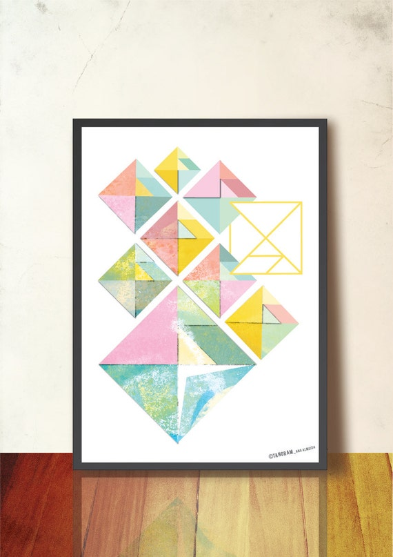 Geometric art print tangram abstract wall art a3 geometric Painting geometric patterns on walls