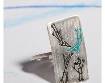 Grey Silver Ring, Friends Silver Ring, Rectangular Ring, Etched Silver Ring, Asymmetric Ring, Asymmetric Jewelry, Avant Garde Jewelry