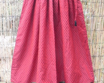 Long Oxblood Pleated Skirt
