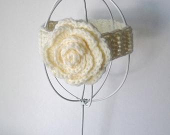 Baby girl crochet cream headband with flower and adjustable band