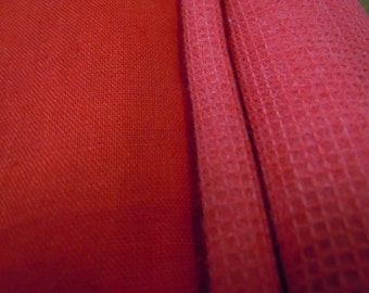 Red Fabric Lot, Vintage Cotton Fabric, Solid Red Textured Cotton Fabric Destash #100 #101