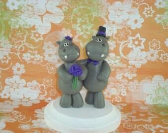 Custom Handmade Hippo Wedding Cake Topper