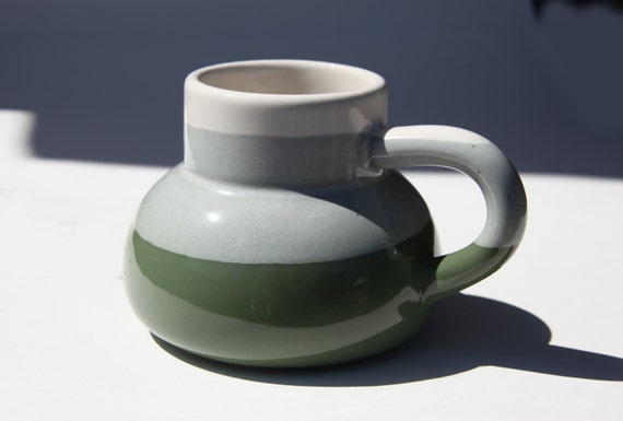 Big Oversized No Spill Pottery Travel Mug Wide Base Narrow Top