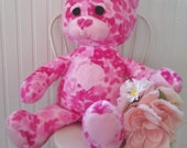 Bamble Bear - Big Adorable Fleece Bear Plush - Pink with hearts - Can customize to any color