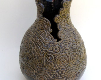 Blue and Tan Coiled Vase