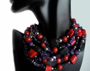 Coral and Sterling Silver Necklace - The Jujube Necklace