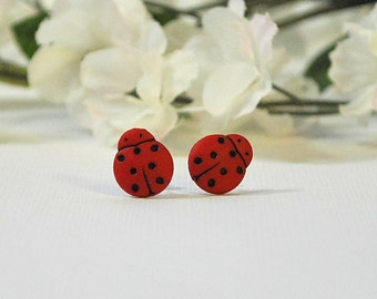 Red Ladybug Post Earrings