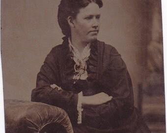 Civil War Era Tintype Photo of Beautiful Victorian Woman #135