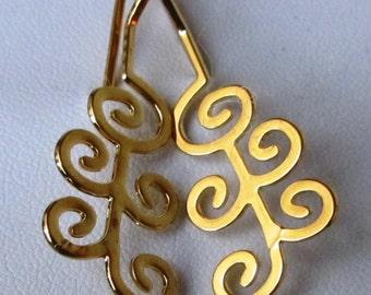 24K Gold Plated Flower Spiral Earrings