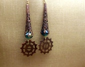 Steampunk Earrings Antiqued Copper Fiilgree Blue and Gold Crystal