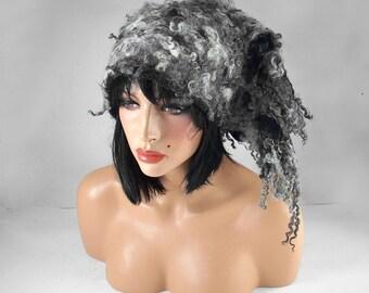 Winter Hat Felted Hat Warm Hat Grey Hat Nunofelt Hat Felt Hat ETHNO BEAUTY Art Hat Warm Hat Felt wearable art Nunofelt Nuno felt