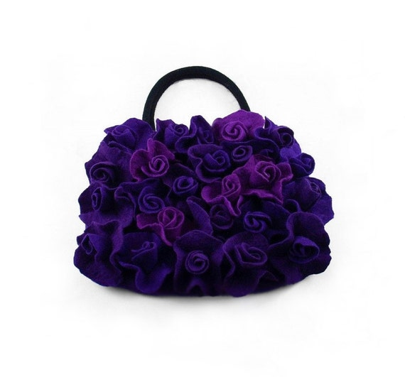 Felted Bag Purple Bag Roses Purse Rose Handbag Art Bag Nunofelt Nuno felt Silk violet lilac handmade fairy floral fantasy Fiber Art boho