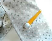 Vintage men's gold plated tie bar white star sapphire money clip mid-century modern retro minimalist Mad Men art deco c 1950
