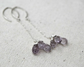 mirth... amethyst drop earrings / light purple amethyst teardrops & sterling silver chain dangle earrings