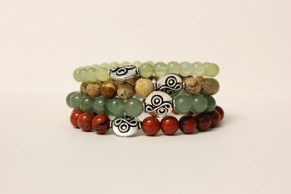 Stackable Set of 4 Handmade Bracelets Aventurine, New Jade, Picture Jasper & Red Jasper  - Stacking Natural Minimalist Boho