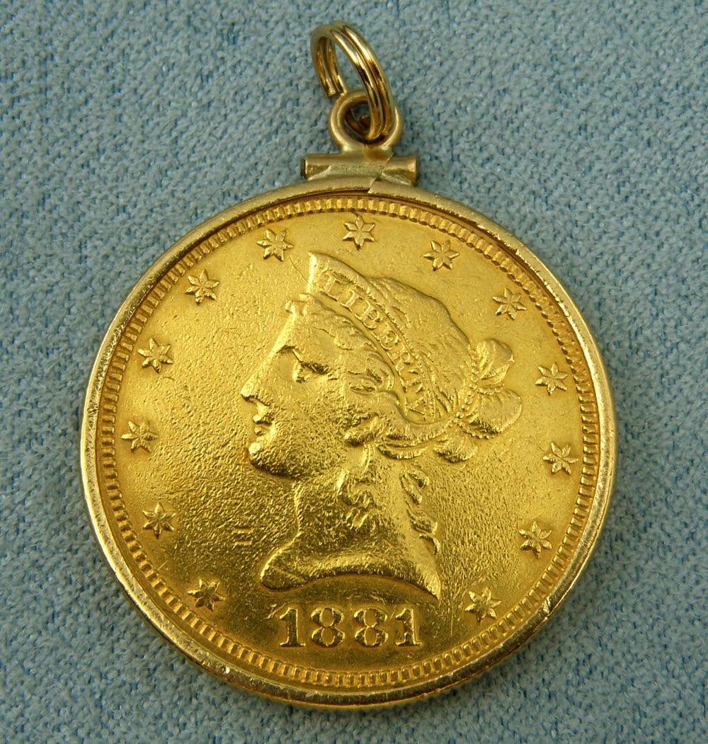 Us 1881 10 Dollar Gold Eagle Liberty Head Gold Coin Pendant