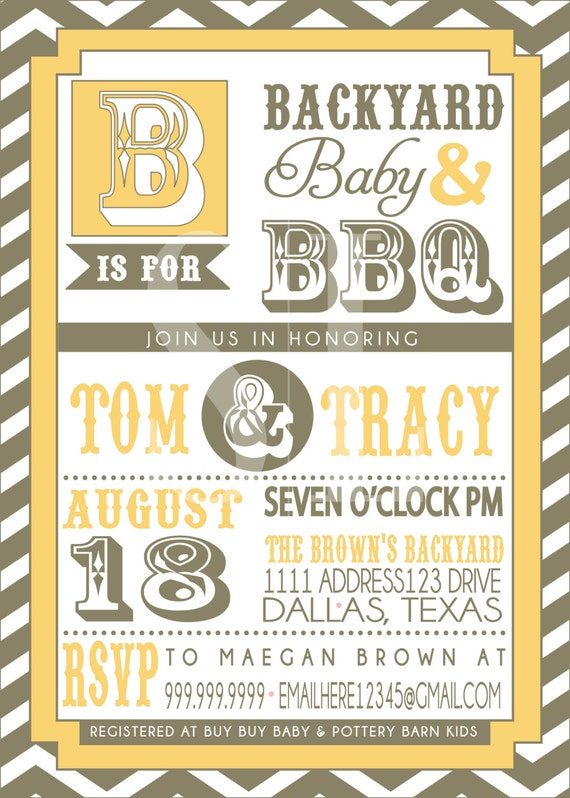 COUPLES bbq BABY SHOWER invitation