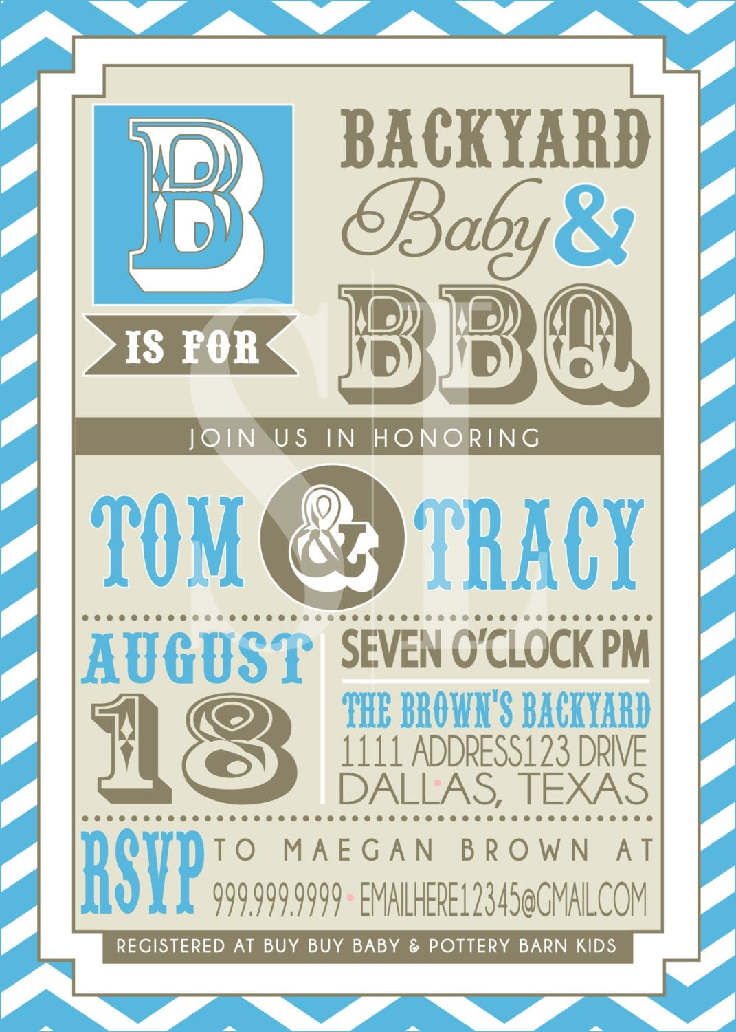couples bbq baby shower invitation blue backyard bbq