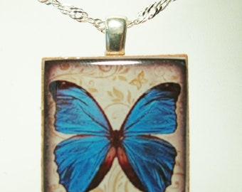 Morpheus necklace - Scrabble Butterfly Pendant - Blue Butterfly, Scrabble Tile Pendant on Sterling Silver 925 bail & chain, Morpheus pendant